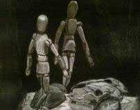 """""""still life with manequin"""" charcoal on paper"""
