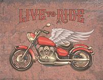 Vintage motorcycle, skulls and labels