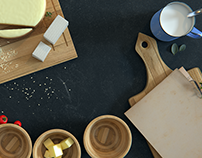 3D scene with some milk products