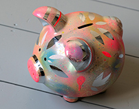 Customised, hand painted piggy bank