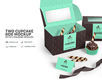 Cupcake Box Mockups Set