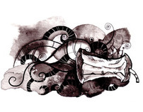 Poetry illustrations. Ink