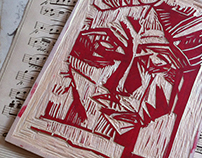 """Selfie""engraving and ""Spring""colour linocut"
