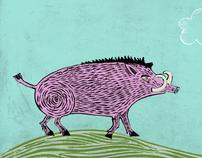 Pink wild boar