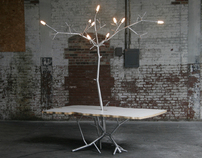 LiveEdge Dining Table with Chandelier