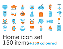 Home icon set, 150+150 items