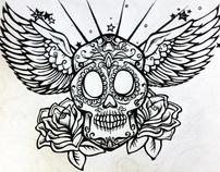 """Pen and Ink Illustration of """"El Skeleto"""""""
