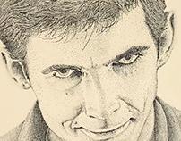 Norman Bates Stippling Illustraton
