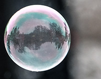 Soap bubble with a picture of a church in Vienna, luck
