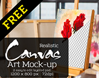 FREE Art Canvas Realistic Studio Mock-Up
