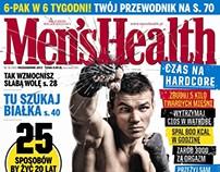 Men's Health cover - photomontage, broken glass.
