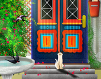 A Cat & A Blue Door