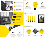 Best yellow annual report PowerPoint template