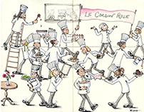 Le Cordon Rose - Whimsical Chef Art