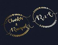 Charles & Racquel Wedding Invitation Logo Design