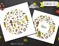Hawaii collection of cute cartoon traveling symbols!