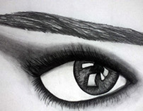 Eye made with charcoal