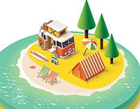 Animated Isometric Beach Scene