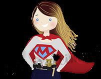 Logo e mascote para Super Mamãe