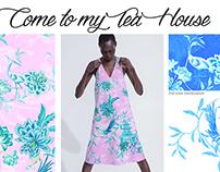 Tea House, Chinoiserie style textile design
