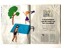 Designs for embroidered illustrations for de Volkskrant