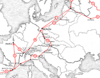 "Mapa para ""La vuelta a Europa en avión"""