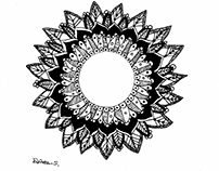 Mandalas con técnicas mixtas ( Dripping, acuarela)