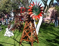 6ft Recycled Wood Windmills
