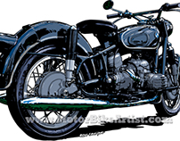BMW R50 vintage motorcycle vector art