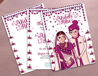 Gujarati Wedding Invitation Card Illustration & Design