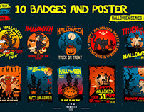 "10 Badges & Poster ""Halloween"""