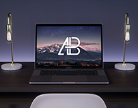 2017 MacBook Pro On Desk Mockup