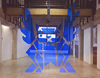 Blue Tape Gargoyle Installation