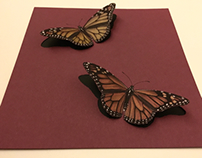Realistic 3D Monarch Butterfly Drawing Cut Out