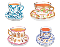 Tea cups watercolor illustrations
