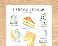French Cheeses | Watercolor food illustration