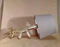 Gold gun toy lamp