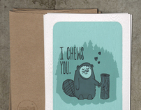 'i chews you' cards