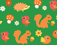 Woodland Forest Themed Prints Fabric & Surface Design