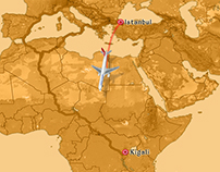 Animation Map from Istanbul to Kigali