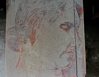 Painting on the gray stool of the waste factory