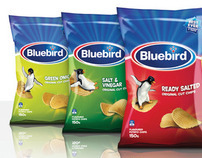 Bluebird - Masterbrand, chips and snacks packaging