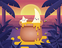 Honeymoon flat illustration