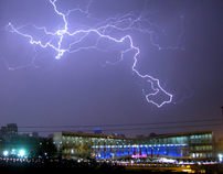 Lightning in Tehran city