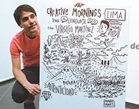Dibujo en vivo: Creative Mornings con Virgilio Martinez