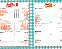 baldy and shamy menu design