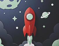 Skuemorphic Paper Rocket