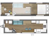 Tiny house floor plan 2D rendering