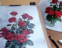 201705 Watercolor Red Roses