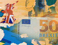 Brexit and Euro Banknotes (stock footage)
